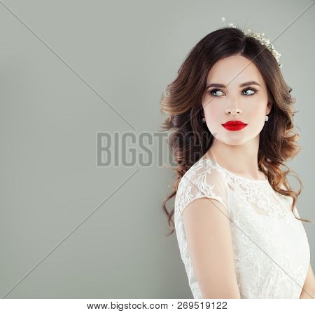 Perfect Young Woman Bride With Trendy Makeup And Bridal Hairstyle. Pretty Woman Fiancee, Classic Sty