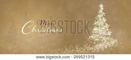 Christmas Time. Christmas Tree With Stars And Snowflakes In Golden Winter Landscape. Text : Merry Ch