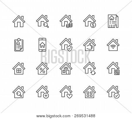 Real Estate Flat Line Icons Set. House Sale, Home Insurance, Mortgage Calculator, Apartment Search A
