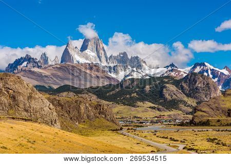 Road to El Chalten town and mountain panorama with Fitz Roy peak at Los Glaciares National Park, Argentina