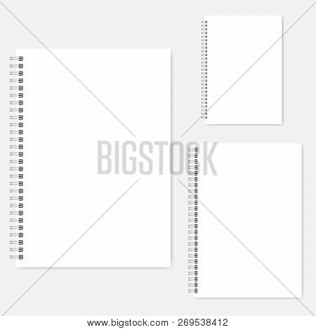 White Blank Notebook Vector Mock-up Set. A4, A5, A6 Size. Spiral Clear Notepads Mockup. Wire Bound D