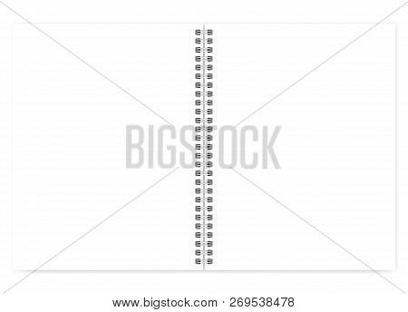 Open Letter Format Notebook With White Clear Pages, Vector Mock Up. Spiral Blank Notepad Mockup. Emp