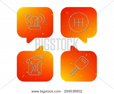 Manual Gearbox, Jerrycan And Car Key Icons. Siren Alarm, Fuel Jerrycan Linear Signs. Orange Speech B