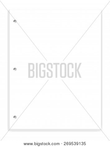 White Blank Hole Punched Paper Block For 3 Ring Binder, Vector Mock Up. Empty Clear Letter Format Wr