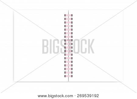 Open Blank Wire Bound Notebook With Pink Spiral, Vector Mockup. Empty Notepad Spread Isolated On Whi