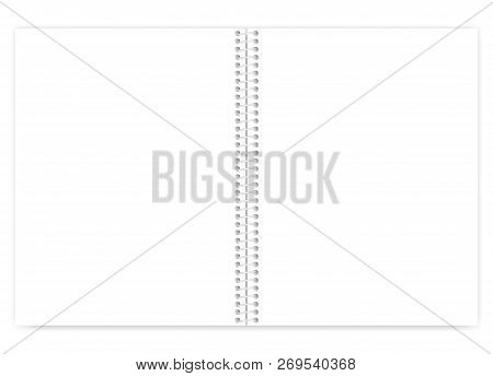 Open White Blank Wire Bound Notebook With Light Metal Spiral, Vector Mock Up. Empty Letter Size Note