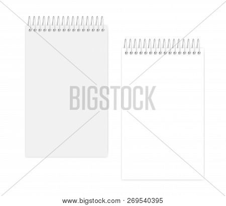 Top Spiral Empty White Notebook, Vector Mock Up. Wire Bound Blank Notepad, Mockup.  Junior Legal Siz