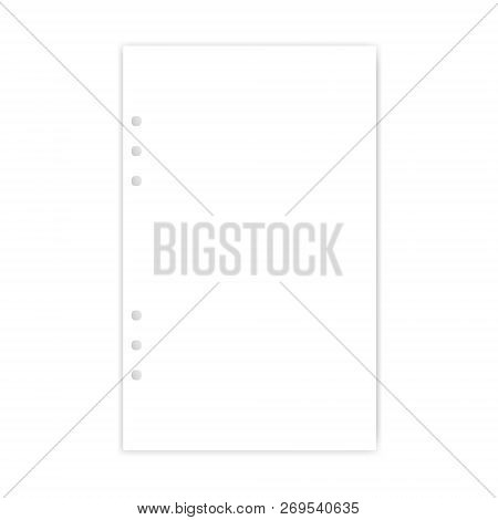 Hole Punched White Filler Paper Sheet, Vector Mockup. Junior Legal Size Blank Writing Pad For Ring B