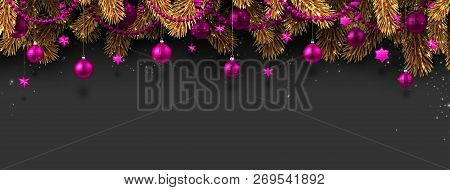 Christmas And New Year Banner With Fir Branches And Pink Christm