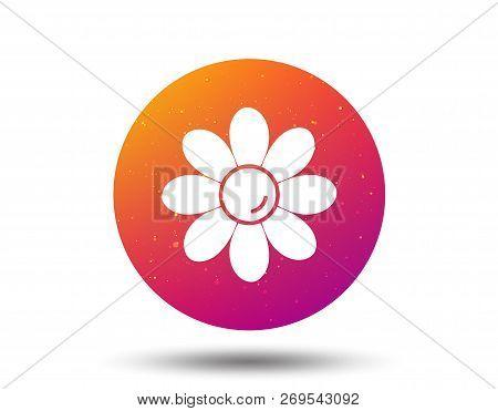 Flower Icon. Florist Plant With Petals Symbol. Circle Button With Soft Color Gradient Background. Ve