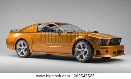 Ekaterinburg, Russia - November 16, 2016. 3d Model  Of The Ford Mustang On Grey Background. Illustra