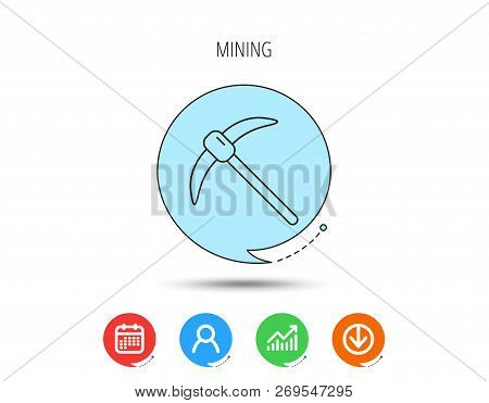 Mining Tool Icon. Pickaxe Equipment Sign. Minerals Industry Symbol. Calendar, User And Business Char