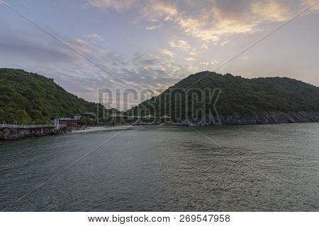 Monkey island beach scenario Lan Ha bay, landmark destination, Cat Ba islands (South of Halong bay), Vietnam. poster