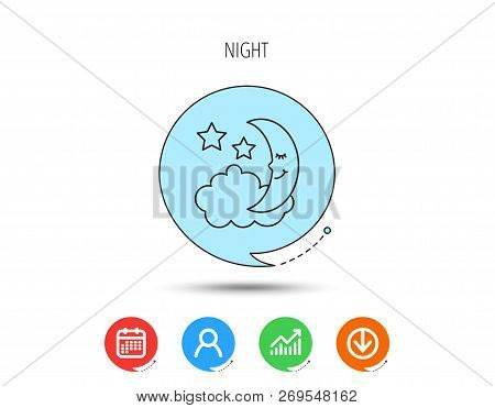 Night Or Sleep Icon. Moon And Stars Sign. Crescent Astronomy Symbol. Calendar, User And Business Cha