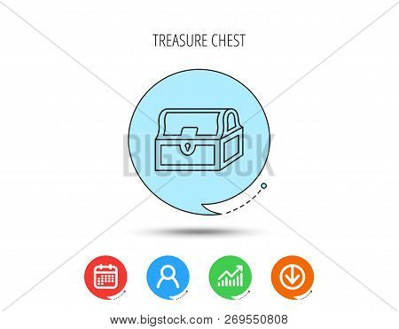 Treasure Chest Icon. Piratic Treasury Sign. Wealth Symbol. Calendar, User And Business Chart, Downlo