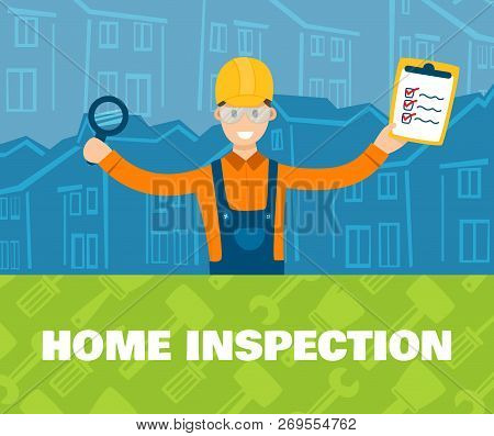A Vector Illustration Of Home Inspector In Front