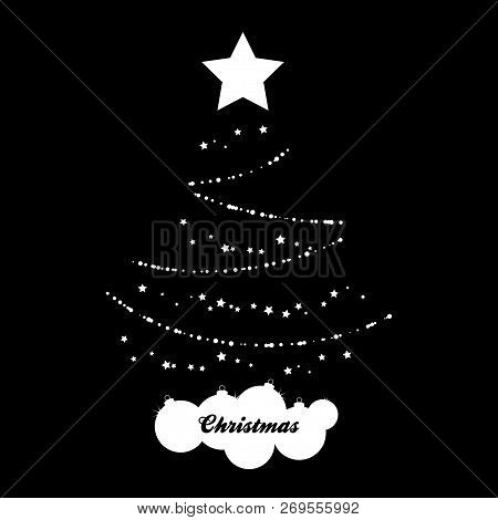 Abstract White Silhouette Of Christmas Tree With Stars Baubles And Decorative Text Over Black Backgr