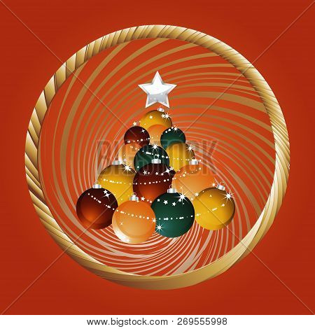 Festive Red Background With Christmas Tree Made Of Baubles With Stars Over Golden Circular Twisted B