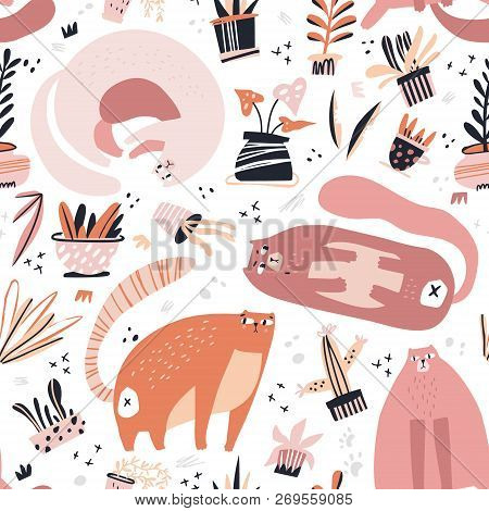 Guilty Cat Flat Hand Drawn Vector Seamless Pattern. Cute, Naughty And Playful Cats With House Plants