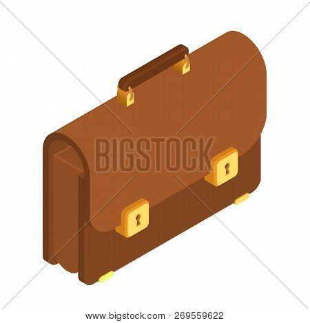 Briefcase. 3d Isometric Briefcase Icon. Brown Briefcase With Golden Lock. Briefcase Male Brown. Busi