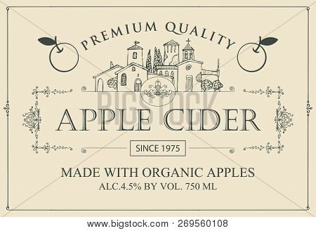 Vector Label For Apple Cider With Realistic Image Of An Apple In Figured Frame In Retro Style