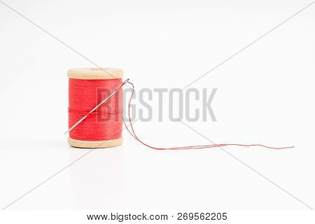 Old Wooden Coil Of Thread.