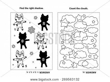 Two Visual Puzzles And Coloring Page For Kids. Find The Shadow For Each Picture Of Little Pig - Anim