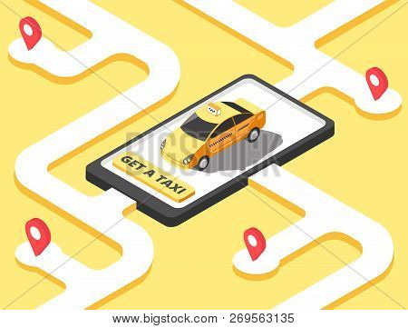 Taxi Concept. Isometric Yellow Car Cab Riding For Client On Map. Taxi Service App Vector Background.