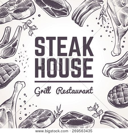 Sketch Meat Background. Grill Food Menu. Beef, Pork And Lamb Barbecue And Sausages. Vintage Bbq Meat