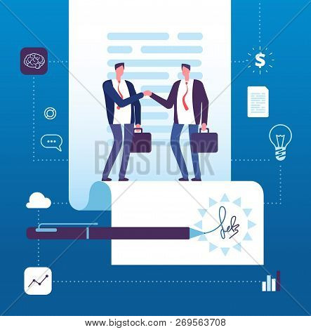 Business Agreement Concept. Businessman Handshaking At Contract With Signature. Investment, Partners