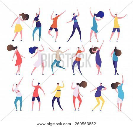 Dancing People. Cartoon Stylish Men And Women Dance On Party Dancing Club. Clubbing People Vector Ch