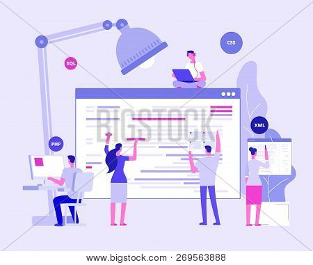 Web Site Development. Designers And Programers Create Corporate Site. Website Coding Vector Concept.