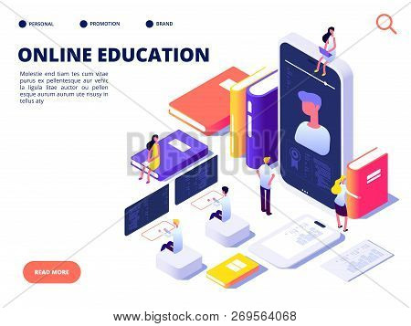 Online Education Concept. Internet Class Training And On-line Course. Educate On Distance. Isometric