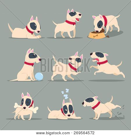 Dog In Day Activity. Funny Cartoon Puppy Daily Routine. Cute Dog Pet Animal Vector Character Set. Ha