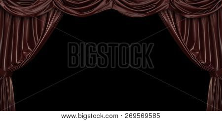 Chocolate Curtain On Black Background. 3d Illustration