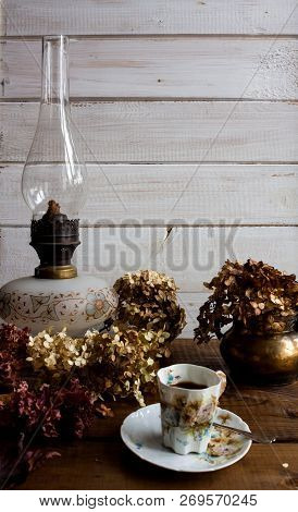 Autumn Still Life With Dried Leaves End Flowers.