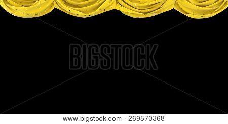 Yellow Velvet Curtain Raised Up On A Black Background. 3d Illustration