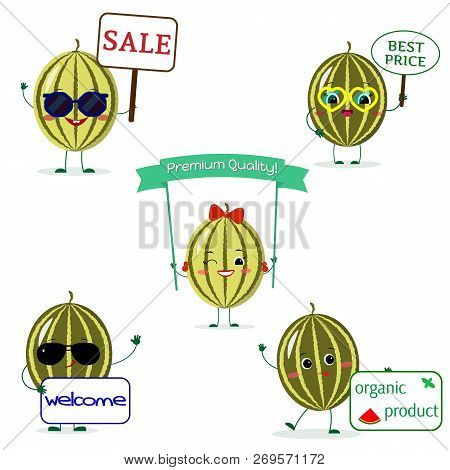 A Set Of Five Watermelon Smile In Cartoon Style. With Different Plates And Glasses. Flat, Vector.