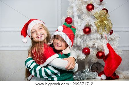 Merry Christmas. Family Holiday Tradition. Children Cheerful Celebrate Christmas. Kids Christmas Cos