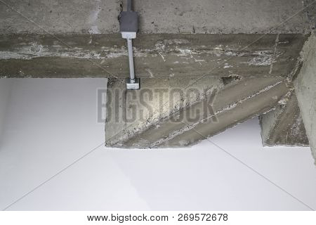 Ceiling Metal Pipe Of Electricity Cable In Building, Stock Photo