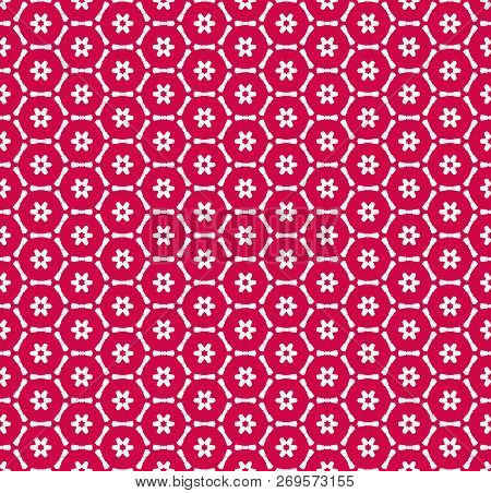 Vector Geometric Seamless Pattern With Small Flower Silhouettes, Snowflakes, Stars, Hexagonal Lattic