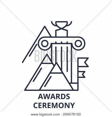 Awards Ceremony Line Icon Concept. Awards Ceremony Vector Linear Illustration, Symbol, Sign