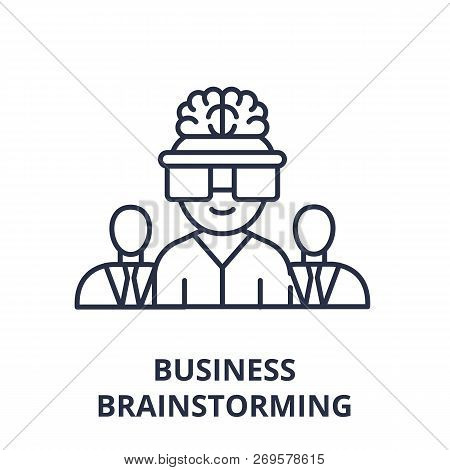 Business Brainstorming Line Icon Concept. Business Brainstorming Vector Linear Illustration, Symbol,