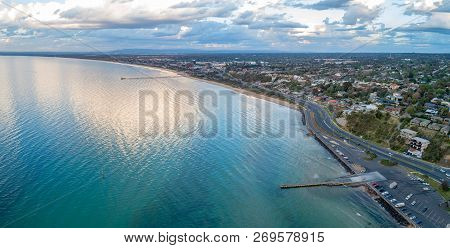 Aerial Panorama Of Frankston Foreshore At Sunset In Melbourne, Australia