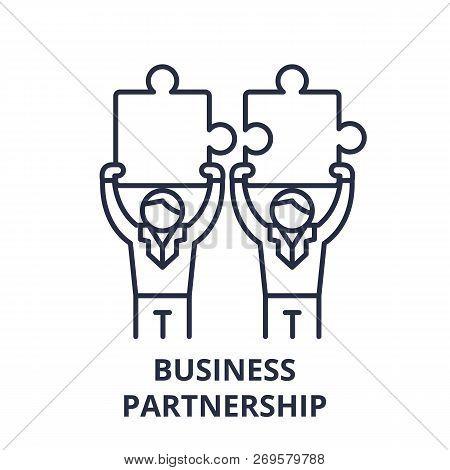 Business Partnership Line Icon Concept. Business Partnership Vector Linear Illustration, Symbol, Sig