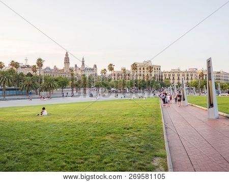 Barcelona, Spain - August 5, 2018: City Square Of Barcelona Near The Pier.