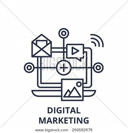 Digital Marketing Line Icon Concept. Digital Marketing Vector Linear Illustration, Symbol, Sign