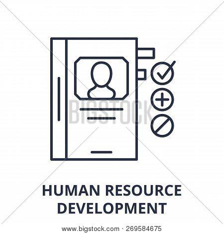 Human Resource Development Line Icon Concept. Human Resource Development Vector Linear Illustration,