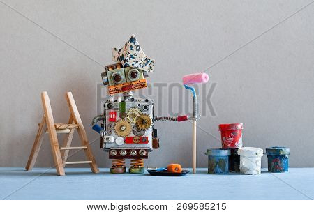 Robot Painter Decorator With Paint Roller, Wooden Ladder. Gray Wall Blue Floor Room Interior