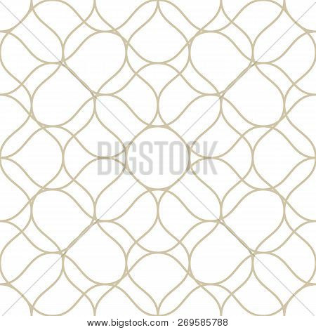 Vector Golden Seamless Pattern With Thin Curved Lines. White And Gold Illustration Of Fishnet, Lace,